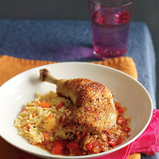 Tangy Chicken with Orzo Pilaf