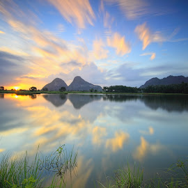 Reflections by Anuar Che Hussin - Landscapes Waterscapes ( water, blue sky, reflections, lake, sunrise, morning )