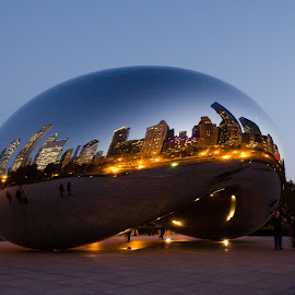 Cloud gate by Anbuchezhiyan Fotos - Buildings & Architecture Architectural Detail ( reflection, night lights, architecture, light, dusk )