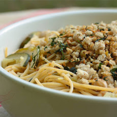 Pasta with Zucchini, Chickpeas and Gremolata Bread Crumbs