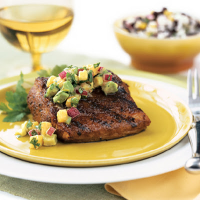 Grilled Mahi-Mahi with Avocado-Melon Salsa