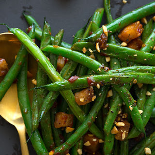 Asian-Style Green Beans with Cubes of Crispy Pork Belly