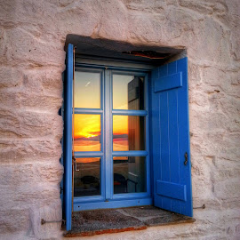 my sunset by Eva Ba - Instagram & Mobile Android ( window, paros, sunset, greece, view, colours )