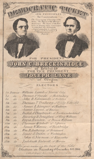 <b>A Proslavery Democrat</b>  John C. Breckinridge, vice president under President Buchanan, was the standard-bearer of Southern Democrats during the 1860 election. He ran on a proslavery platform of states' rights and won nearly every state in the South.