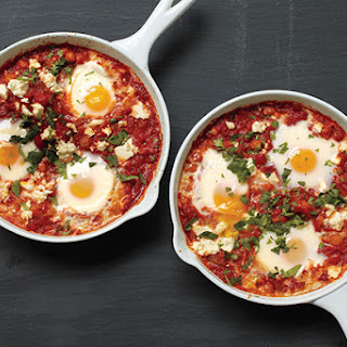 Poached Eggs in Tomato Sauce with Chickpeas and Feta