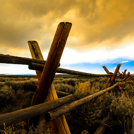 Choking the Sun by Shaun Terhune - Landscapes Prairies, Meadows & Fields ( clouds, fence, wildfire, america, wyoming, landscape,  )