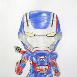 Iron Patriot Caricature by Yongki Wahyu - Drawing All Drawing ( color, pencils )