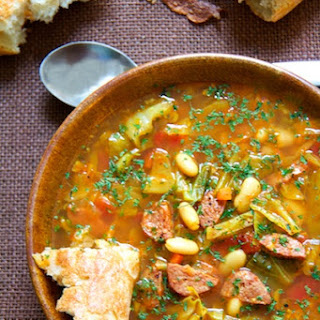 Farmhouse Cabbage Soup with Cannellini Beans and Kielbasa