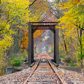 October Rails by Kenneth Keifer - Transportation Railway Tracks ( countryside, indiana, train tracks, rails, america, colorful, change, railroad, vivid, trestle, woodsorange, transportation, vibrant, yellow, old rusty, landscape, leaves, usa, iron, nature, autumn, foliage, train, gold, rust, colors, green, forest, scenic, tracks, rural, country, vanishing point, color, changing, fall, rusted, trees, bridge, october )