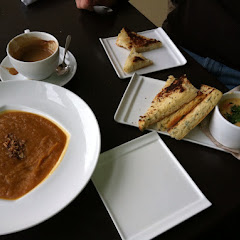 Sweet potato soup and pimento cheese appetizers... All gluten free! :)