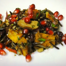 Wild Rice Salad with Roasted Butternut Squash, Roasted Chestnuts and Pomegranate Seeds