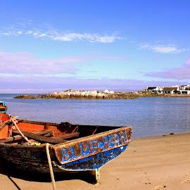 Blue Pearl by Adéle van Schalkwyk - Transportation Boats ( bay, anchored, sea, ocean, beach, boat )