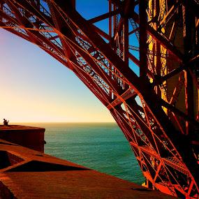 by Jeff Steiner - Buildings & Architecture Bridges & Suspended Structures ( iphone photo, golden gate bridge, pacific ocean, steel, super structure, san francisco, fort point )