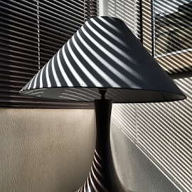 Through the Blinds by Martha van der Westhuizen - Instagram & Mobile iPhone ( lamp, reflections, blinds, lines, table )