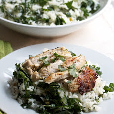 The Best Indoor Grilled Chicken with Kale-Rice Salad