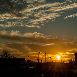 City Skyline by Cristian Bobocea - City,  Street & Park  Skylines ( skyline, warm, sunset, sun, city )