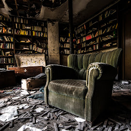 Lost wisdom by Marco Bontenbal - Artistic Objects Furniture ( books, chair, sofa, urbex, lost, relax, wisdom, house, room, abandoned )