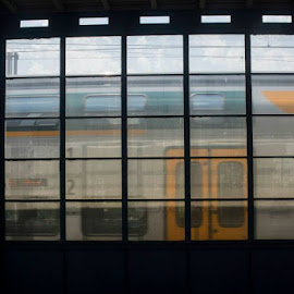 Through the Window by Madeline Joanne - Transportation Trains