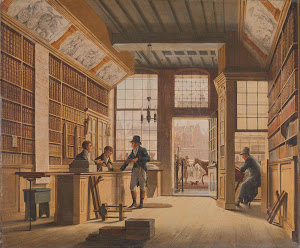 RIJKS: Johannes Jelgerhuis: The Shop of the Bookdealer Pieter Meijer Warnars on the Vijgendam in Amsterdam 1820