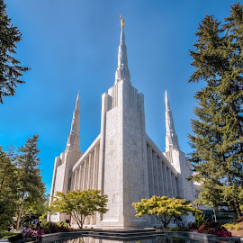 Portland Oregon LDS Temple by Jake Egbert - Buildings & Architecture Places of Worship ( portland lds temple, reflection, portland, hdr, lds temple, marriage, temple sealing, portland oregon lds temple, portland temple, worship, temple, mormon, wedding, lds )