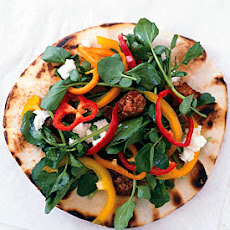 Grilled Chorizo, Goat Cheese, and Watercress Pita Pizzas