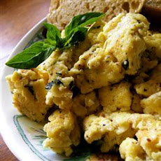 Creamy Cheesy Scrambled Eggs with Basil