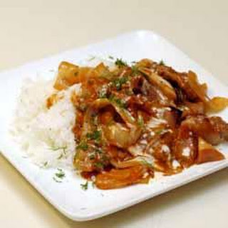 Beef with Mushroom and Onion Gravy