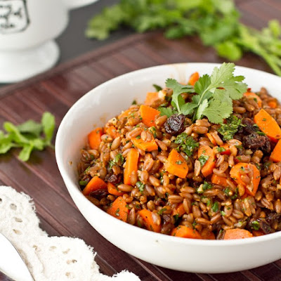 Carrot Raisin Spelt Berry Salad with Cumin and Cilantro