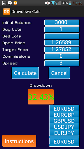 Forex Drawdown Calc - screenshot