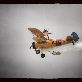 Wing walker bi plane by David Ferris - Transportation Airplanes