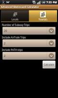 Screenshot of Advanced Metrocard Calculator