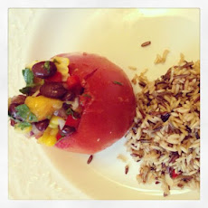 Black bean Mango salsa Stuffed Tomatoes