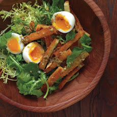 Soft-Boiled Eggs with Warm Croutons and Greens