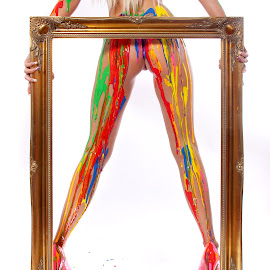 Framed by Rich Digitalmood - Nudes & Boudoir Artistic Nude ( nude, colourful, frame, paint, messy, person, people, tattoo )