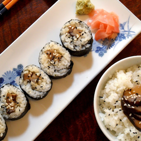 Soy-Glazed Shiitake Mushrooms and Perfect Sushi Rice