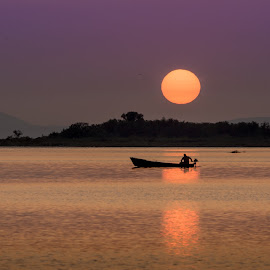 Neretva delta by Eduard Vukelić - Landscapes Sunsets & Sunrises ( adriatic see, sunset, neretva delta, croatia, fisherman )