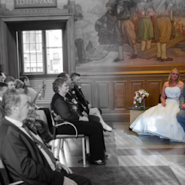 Tatjana and Ricky by Arjan Barendregt-Schuijffel - Wedding Ceremony ( black and white, wedding, bride and groom, collor, bride, groom, selective color, pwc )