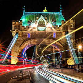 Busy Tower Bridge by Lukas Proszowski - City,  Street & Park  Night ( london, color, cars, tower bridge, long exposure,  )