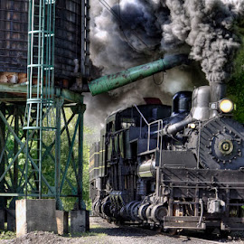 Steam Engine Passing Water Tower by Vicki Pardoe - Transportation Trains ( steam engine, train, cass west virginia, water tower )