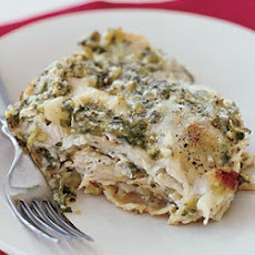 Layered Chicken Enchiladas with Tomatillo-Cilantro Sauce