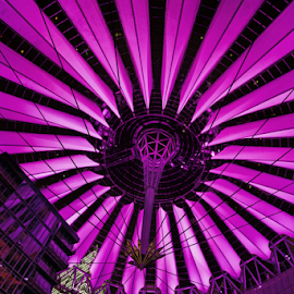 Pink Dome by Michael Milfeit - Buildings & Architecture Office Buildings & Hotels ( sony, helmut jahn, architektur, dome, berlin, illumination, sony-center, kuppel, creativity, lighting, art, artistic, purple, mood factory, lights, color, fun )
