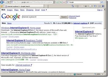 IE終於可以藉由Smart Address Bar直接搜尋網路資料了! - Search Result