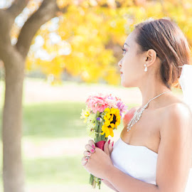 Bride looking away by Devin Donnelly - Wedding Bride ( autumn, wedding, fall, beauty, bride, engagement )