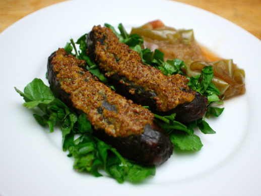 Dinner Tonight: Grilled Sausage Salad with Quick Apple Compote and Watercress