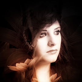 petals by Kathleen Devai - Digital Art People ( woman flower petal portrait )