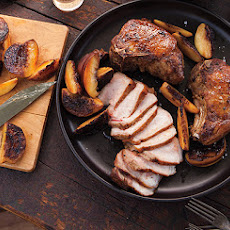 Grilled Pork Chops with Peaches and Pole Beans