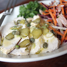 Poached Turkey Breast Salad with Lemon, Capers, Mustard, Cornichons, and Mint