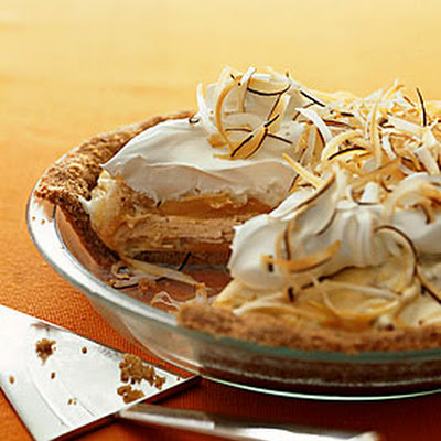 Macadamia Ice Cream and Mango Sorbet Swirl Pie