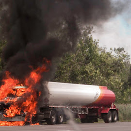 Close Call!! by Shawn Klawitter - Abstract Fire & Fireworks ( truck, automobile, outdoors, burning, fire )