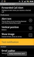 Screenshot of Forwarded Call Alert ROOT